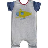 Macacão Infantil Curto Comfy Deep Sea - Unissex-Cinza