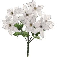 Flor Natalina Artificial Branca E Prata Cabo Médio 35Cm 1Pç