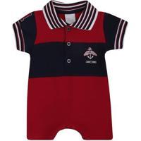 Macacão Anjos Baby Curto De Bebê Chic Masculino - Masculino-Vermelho