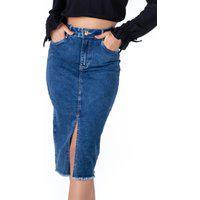 Saia Midi Pkd Com Elastano Jeans Escura