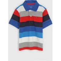 Camisa Polo Tommy Hilfiger Kids Infantil Listrada Azul/Vermelho - Azul - Menino - Algodã£O - Dafiti