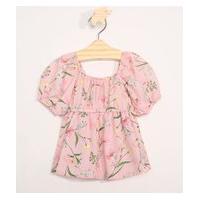 Blusa Infantil Manga Curta Estampado Floral Rosa