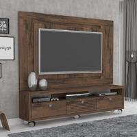 Rack Com Painel Para Tv 55 Polegadas Olimpo Plus 180Cm Café