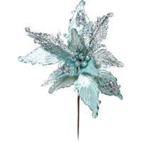 Flor Artificial Decoração Natal Poinsetia Glitter Cl Azul Clara