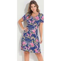 9203f7fe2 Posthaus; Vestido Quintess Floral Azul Com Decote Redondo