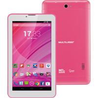 """Tablet Multilaser M7 Com Função Celular Nb225 - Tela 7"""", Processador Quad Core, 8Gb, Android 4.4, Conexão 3G + Wi-Fi, Câmera 2Mp + Frontal - Rosa"""