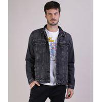 Jaqueta Jeans Masculina Trucker Com Bolsos Manga Longa Preta