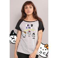 Camiseta Bandup Raglan Hello Kitty Have A Happy Halloween - Feminino-Cinza+Preto