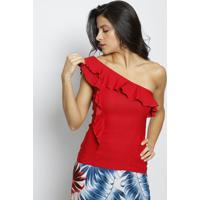 Blusa Ombro Único Com Babados - Vermelha- Moiselemoisele