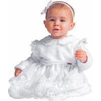 Vestido Infantil Fofinho Batizado Flora Pelúcia Luxo Branco