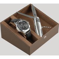 Kit De Relógio Analógico Mondaine Masculino + Canivete - 76675G0Mvnh1Kc Preto - Único
