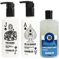 Kit Com 1 Pós Barba Da Gambler + 1 Gel De Barbear + 1 Shampoo 3 Em 1 Bola 10 - Masculino
