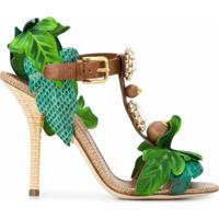 Dolce & Gabbana Sandália Keira Com Aplicações - Verde