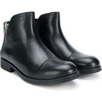 Geox Kids Ankle Boot De Couro - Preto
