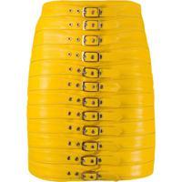 Manokhi Minissaia De Couro Com Fivela - Amarelo