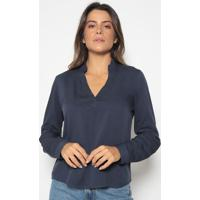 Blusa Lisa Com Pregas- Azul Marinho- Vip Reservavip Reserva