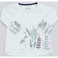 Blusa Infantil Com Estampa Floral Manga Longa Decote Redondo Cinza Mescla Claro