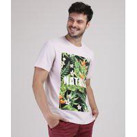 "Camiseta Masculina Nature"" Com Estampa Floral Manga Curta Gola Careca Rosa Claro"""