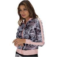 Jaqueta Com Proteção Solar Uv Vestem Bicolor Sweet Flowers - Feminina - Preto/Rosa Cla