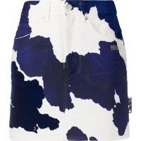 Off-White Denim Cow Mini Skirt Beige Blue - Azul