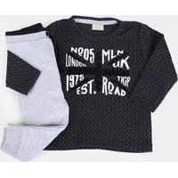 Conjunto Moletom Infantil Milon Camiseta Jacquard E Calça Peluciado Feminino - Masculino