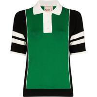 Plan C Camisa Polo Com Mangas Listradas - Verde