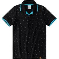 Camisa Polo Estampada Infantil Malwee Kids Masculina - Masculino