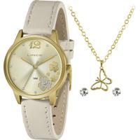 Relógio Lince Feminino + Par De Brinco, Corrente E Pingente - Lrcj134L-Kz31C2Tx