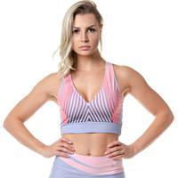 Top Fitness Feminino Rock Fit Laser Azul E Rosê