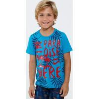 Camiseta Infantil Estampa Folhas Manga Curta Marisa