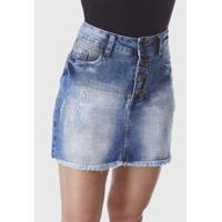 Saia Hno Jeans Curta Mini Feminina - Feminino-Azul