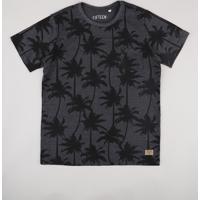 Camiseta Juvenil Estampada De Coqueiros Com Bolso Manga Curta Cinza Mescla Escuro