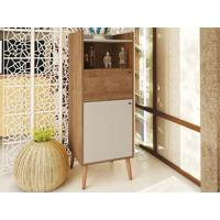 Cristaleira 2 Portas E Pé Palito Natural Style Buriti/Off-White