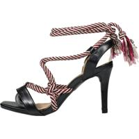 Sandália Salto Médio Week Shoes New Pele E Corda Preto