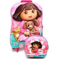 Kit 2 Pçs Max Toy Mochila De Rodinhas Dora Pets Rosa