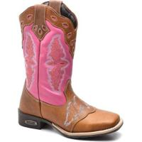 Bota Top Franca Shoes Texana - Feminino-Rosa+Caramelo