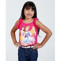 Blusa Infantil Princesas Babado Paetê Disney