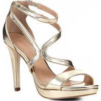 Sandália Shoestock Meia Pata Verniz Feminina - Feminino-Dourado