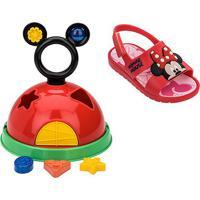 Sandália Infantil Grendene Kids Mickey E Minnie Baby - Feminino-Vermelho+Rosa
