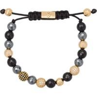 Nialaya Jewelry Pulseira De Hematita, Ágata E Ouro - Preto