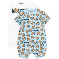 Moschino Kids Macacão Com Estampa De Logo - Branco