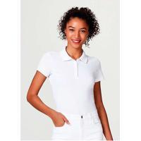 Camisa Polo Básica Feminina Em Malha Piquet Branco