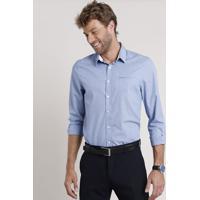 Camisa Social Masculina Comfort Com Bolso Manga Longa Azul