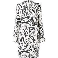 Msgm Vestido Com Estampa De Zebra - Branco