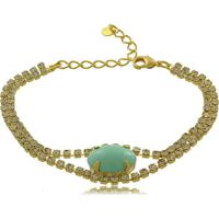 Pulseira Em Strass Com Pedra Oval Azul 3Rs Semijoias Dourado
