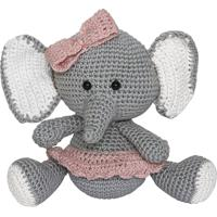 Elefante Lala De Lacinho Rosa Amigurumi Crochê Quarto Bebê Infantil Menina Potinho De Mel - Tricae
