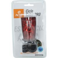 Lanterna Para Bike Acte Sports Pro A34 Com Ciclo Faixa Virtual E Pisca - Preto/Vermelho