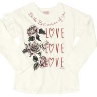 Blusa Infantil Love Roses Bege