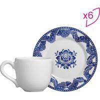Conjunto De Xícaras De Café Arabesco- Branco & Azul-Scalla Cerâmica