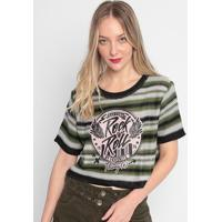 """Blusa Cropped """"Rock And Roll"""" - Verde & Preta- My Famy Favorite Things"""